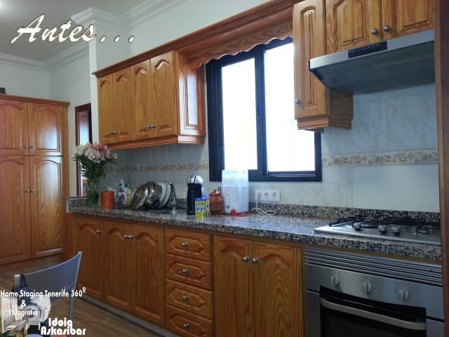 Cocina de madera sin home staging