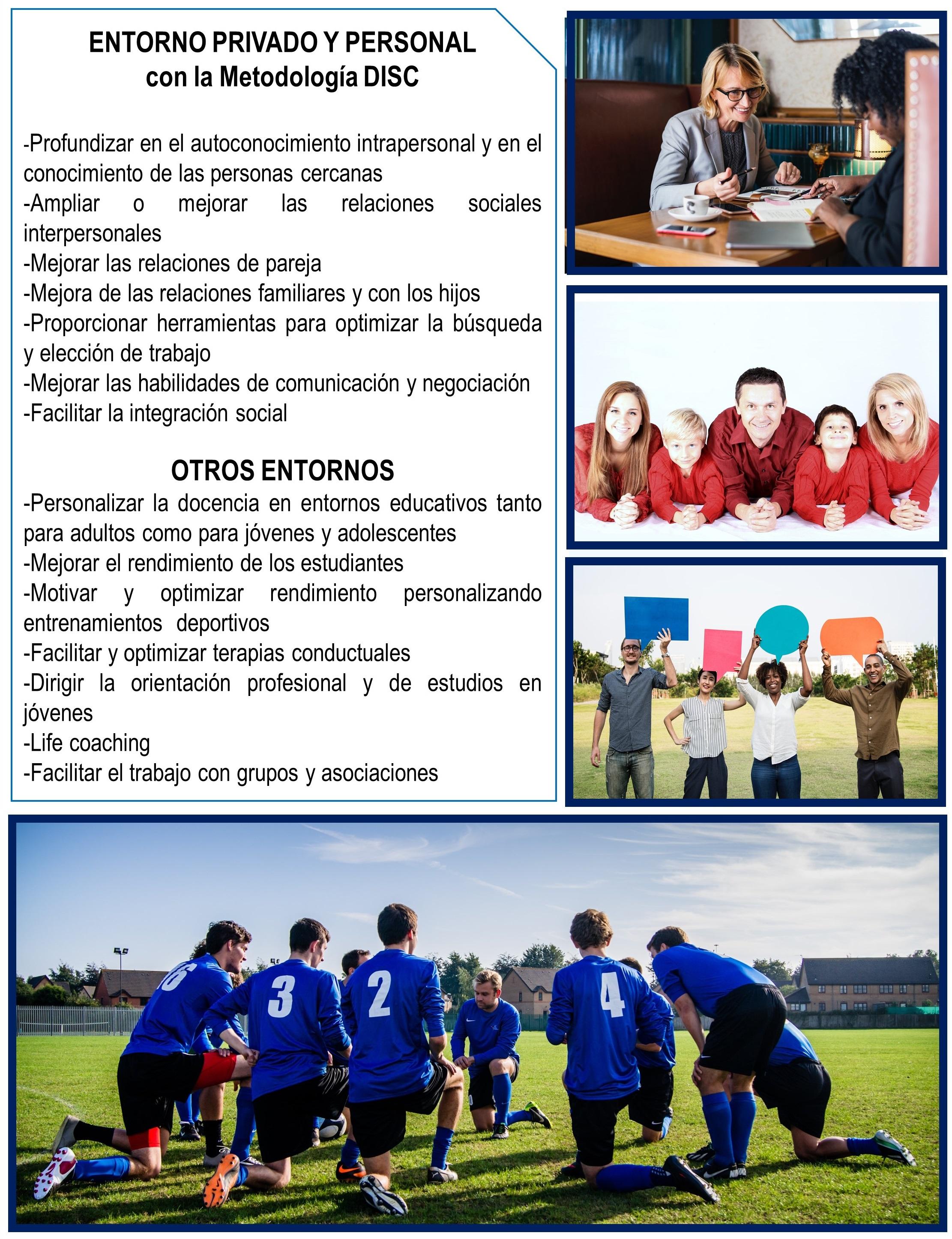 DISC aplicado a las relacciones personales y en entornos deportivos y asociaciones